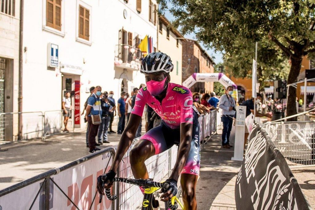 Valcar Travel & Service's Teniel Campbell pedals off during Saturday's Giro Rosa stage two event in Italy.  - VALCAR TRAVEL & SERVICE