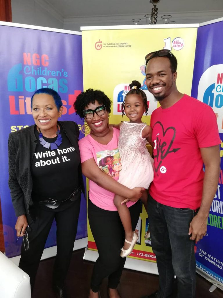 Four-year-old author Coryn Anaya Clarke, second from right, who will be participating in the Children's Bocas Lit Fest venture during the online festival, with her parents Dionne Baptiste-Clarke, second from left, Ron Clarke, right, and director of NGC Children's Bocas Lit Fest Danielle Delon.  -