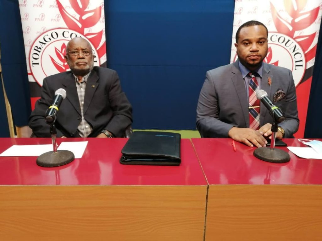 PNM Tobago Council chairman Stanford Callender, left, and PRO Kwesi DesVignes address members of the media virtually on Monday. - PNM Tobago Council
