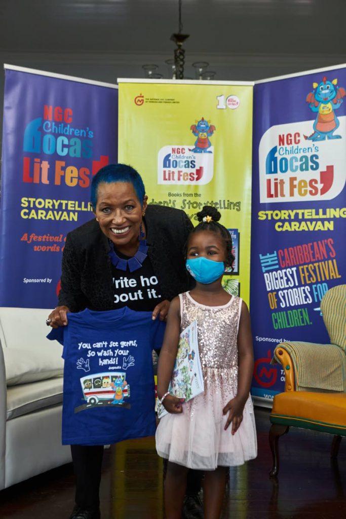 Director of the children's literary festival Danielle Delon with Coryn Clarke. -