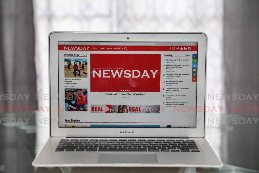 Newsday's website presents news in realtime. Most traditional media newsrooms include digital news platforms. PHOTO BY JEFF MAYERS -