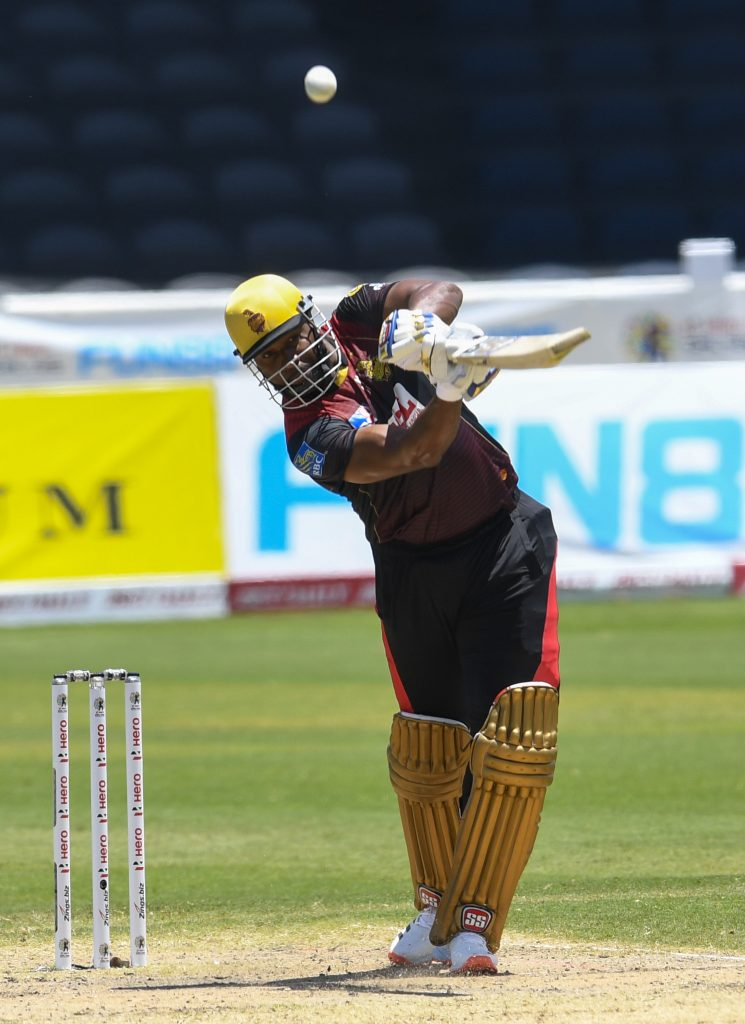 Trinbago Knight Riders' captain Kieron Pollard plays a shot during match 27 of the Hero Caribbean Premier League against the St Lucia Zouks, at the Brian Lara Cricket Academy, Tarouba, on Saturday. - CPL T20 via Getty Images