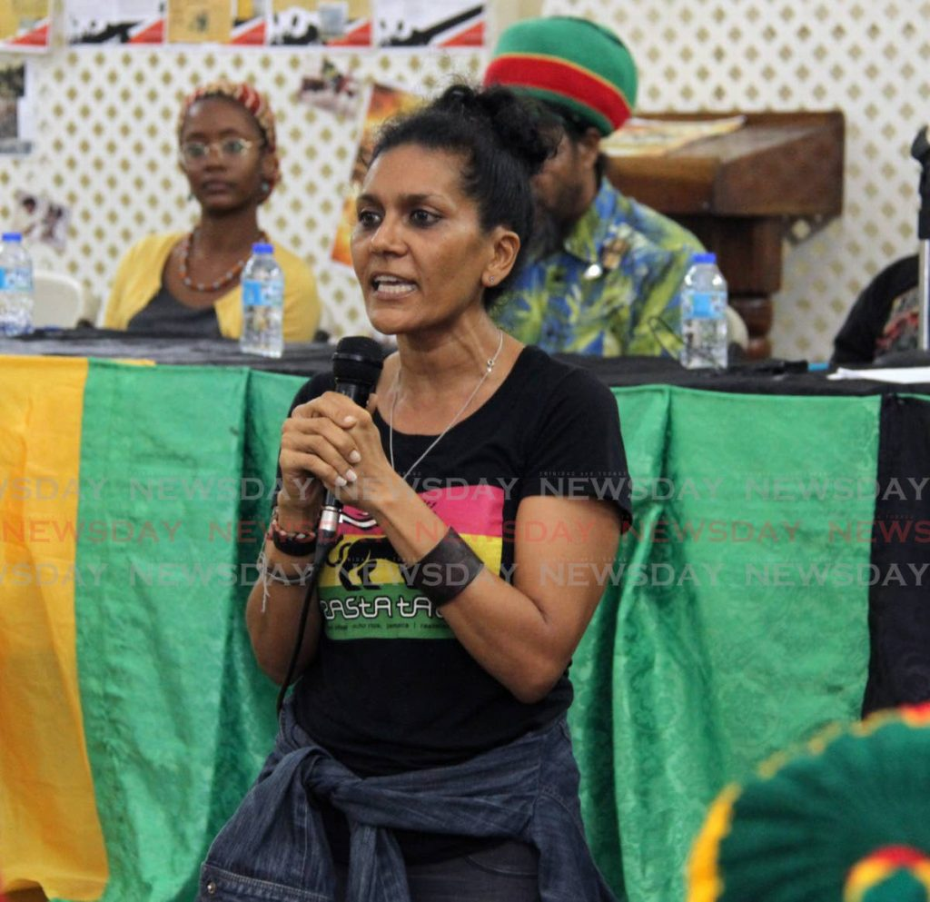 In this September 13, 2018 file photo marijuana activist Nazma Muller speaks during a symposium on the legalisation of marijuana at the Communication Workers Union headquarters, Henry Street, Port of Spain. Muller was released from prison on bail on Friday after being arrested for possession of more than 400 grammes of marijuana on September 9.  -