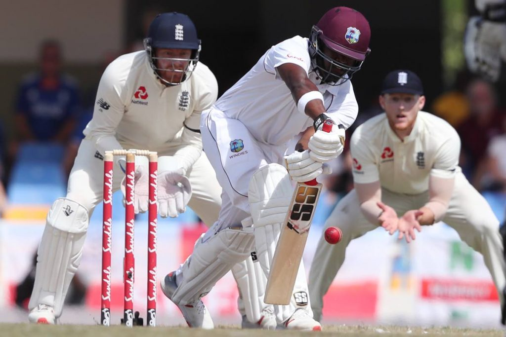 In this Feb 2, 2019 file photo, West Indies' Darren Bravo plays a shot against England during day three of the second Test at the Sir Vivian Richards Stadium in North Sound, Antigua and Barbuda. (AP Photo) -
