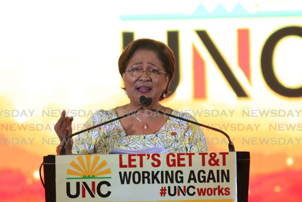 UNC political leader Kamla Persad-Bissessar. -