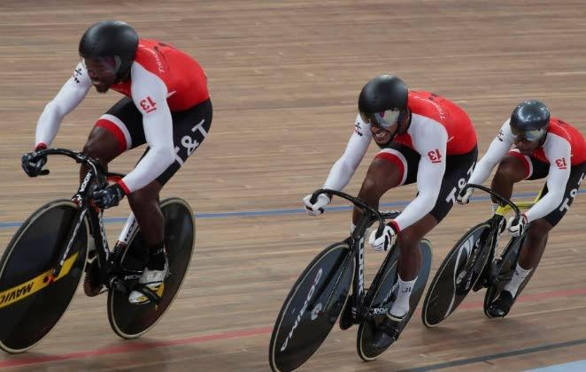 The TT team sprint members - Keron Bramble (left), Njisane Phillip (centre) and Nicholas Paul, during a race in 2019.  -