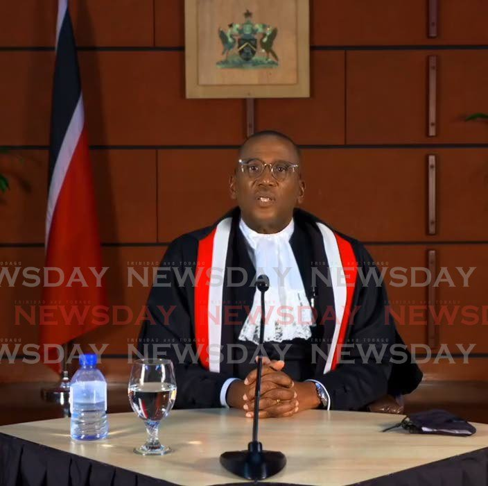 A screengrab of Chief Justice Ivor Archie during the virtual opening of the new law term on October 7. -