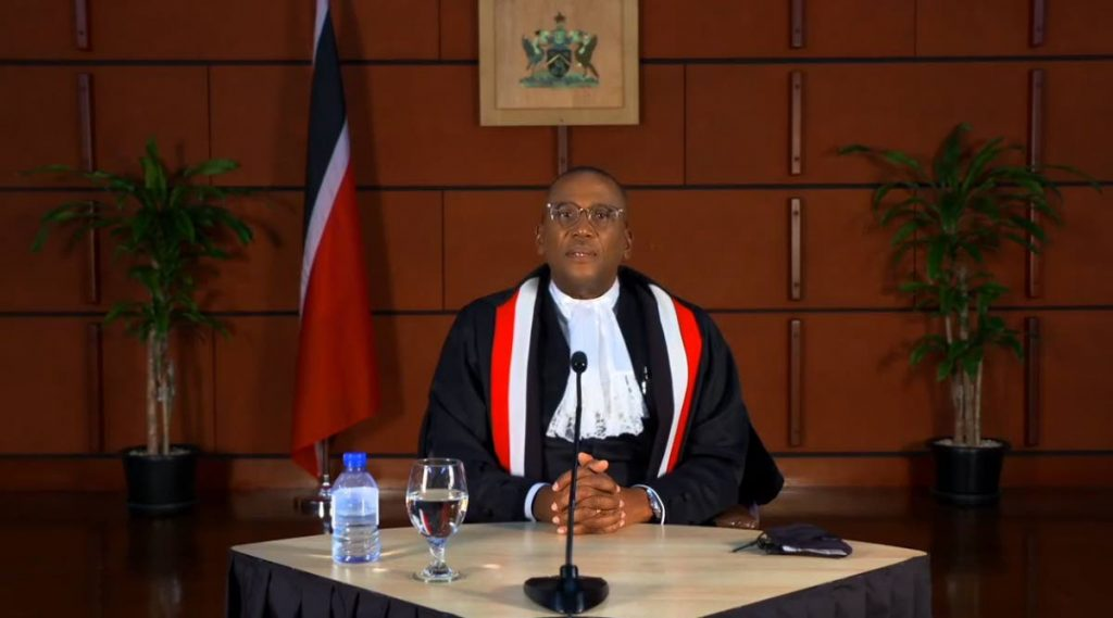 VIRTUAL CJ: Chief Justice Ivor Archie as he delivered a virtual address to mark the ceremonial opening of the new law term. This screen grab was taken from the Judiciary's Facebook page.  -