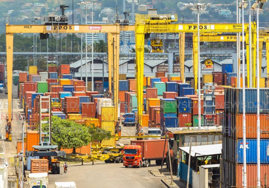 File photo of containers and cranes at the Port of Port of Spain - JEFF K MAYERS