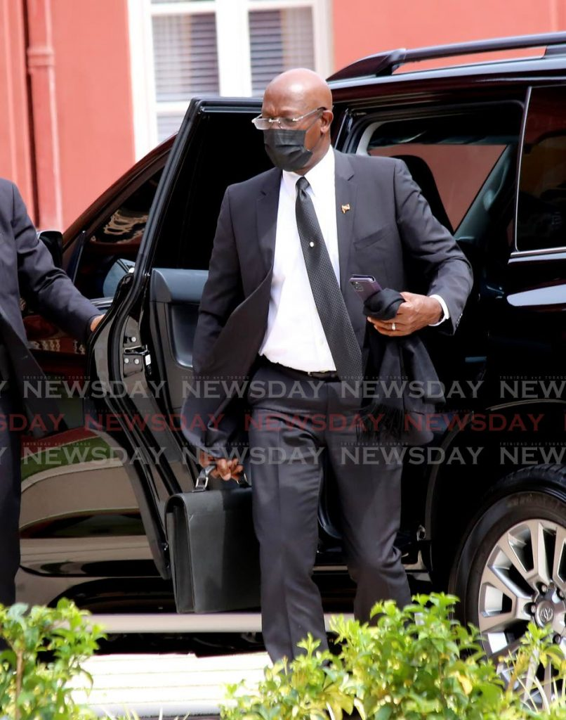 Prime Minister Dr Keith Rowley arrives at the Red House for continuation of the budget debate.  - SUREASH CHOLAI