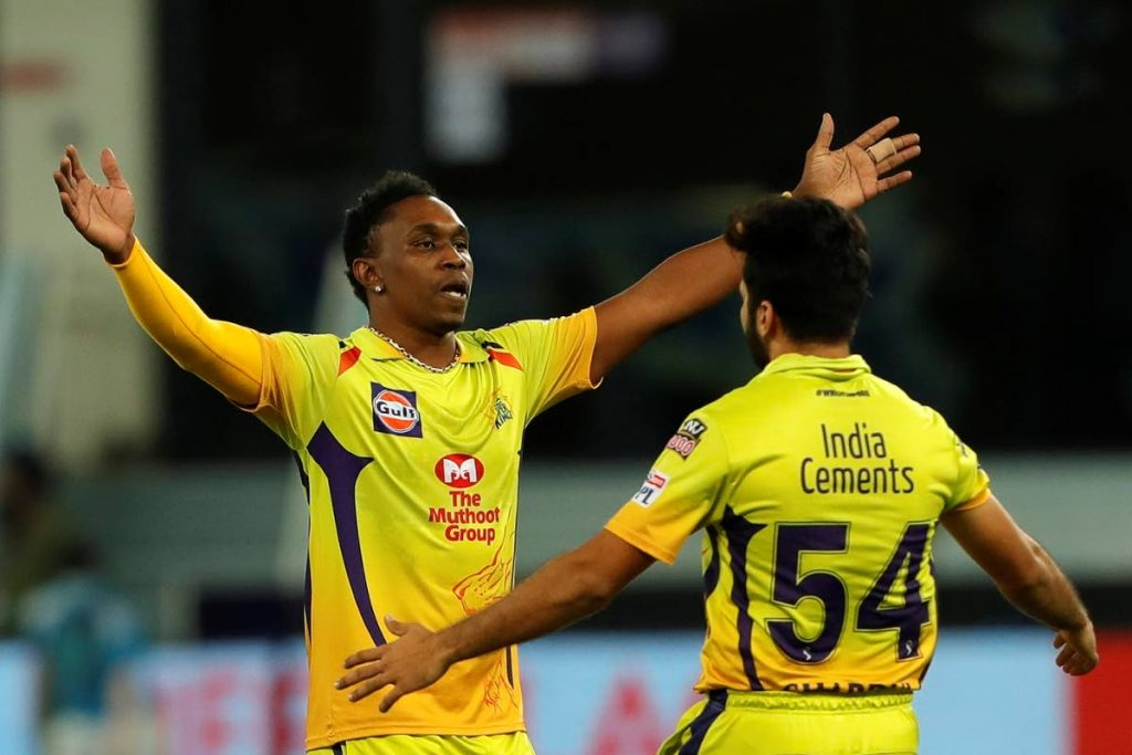 Dwayne Bravo of Chennai Superkings  celebrates the wicket of Vijay Shankar of Sunrisers Hyderabad during match 29 of season 13 of the Dream 11 Indian Premier League (IPL) between the Sunrisers Hyderabad and the Chennai Super Kings held at the Dubai International Cricket Stadium, Dubai in the United Arab Emirates on Tuesday. AFP PHOTO -