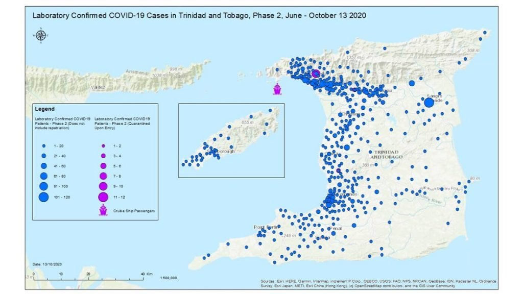 A map of TT indicating the location of the confirmed covid19 cases between June to October, during the second phase of the virus. -