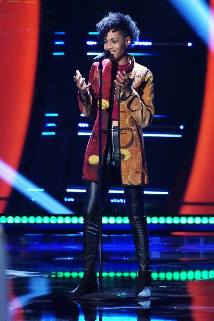 Payge Turner as she performed on October 19 during blind auditions on American talent show The Voice. PHOTO COURTESY TYLER GOLDEN/NBC -