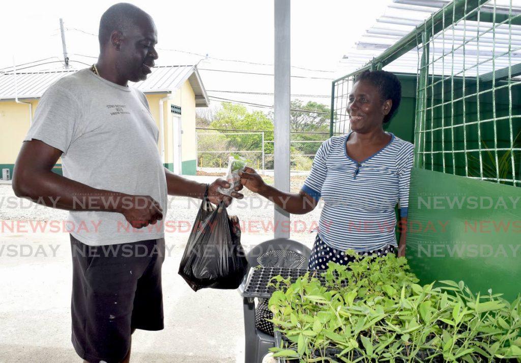 FILE PHOTO: Tobago Agri Society president Dedan Daniel, left, buys seedlings from Arthur's plant shop. -