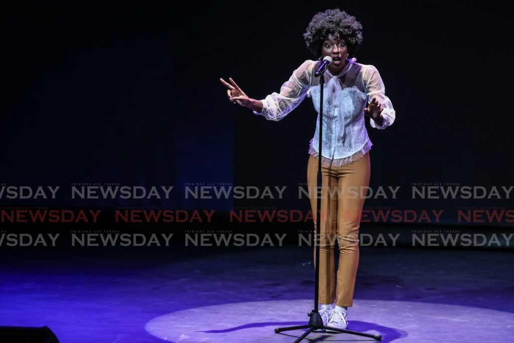 This May 2019 file photo shows First Citizens National Poetry Slam champion Alexandra Stewart during the final. Stewart also won the 2020 competition which was televised and streamed online because of the covid19 restrictions. PHOTO BY JEFF MAYERS -