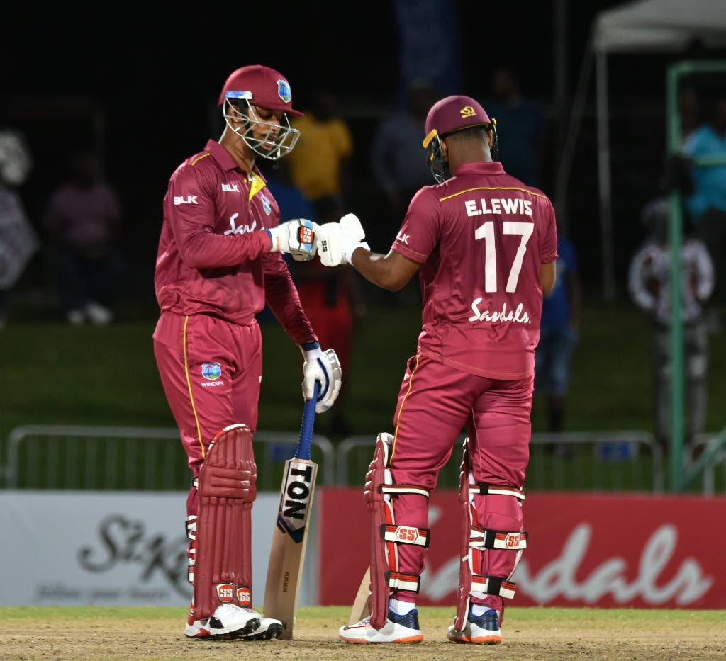 In this January 19, 2020 file photo, Lendl Simmons (left) and Evin Lewis during their opening stand of 133 during the final match of a three-match T20 series against Ireland, at Warner Park, St Kitts. - CWI Media