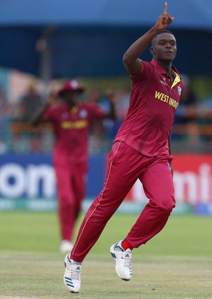 West Indies Under-19 fast bowler Jayden Seales. -