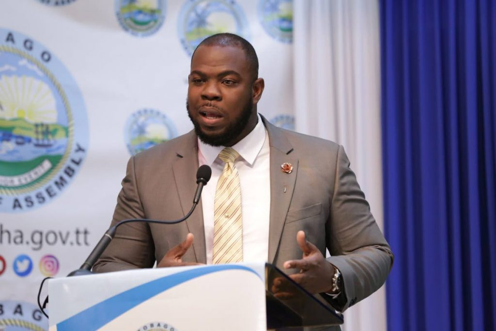 Assistant Secretary, Division of Tourism, Culture and Transportation, Shomari Hector paid homage to the pioneers of calypso. PHOTO COURTESY THA -