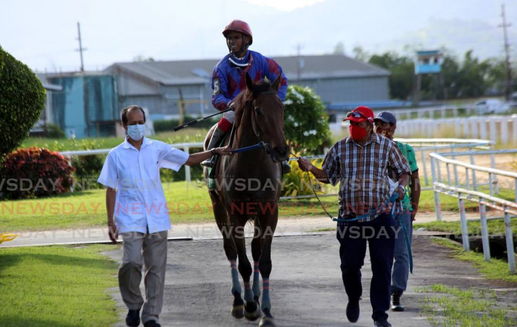 In this file photo, a horse is escorted to the winner's circle at the Santa Rosa Race Park on July 18. -