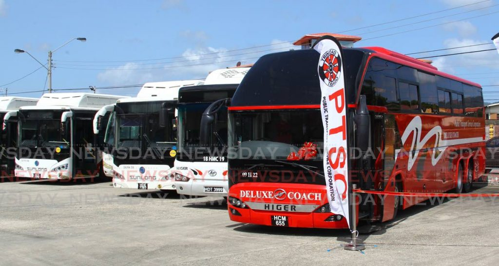Some of the buses which will be used for the Executive Deluxe Coach Service from Arima to Port of Spain. - ROGER JACOB