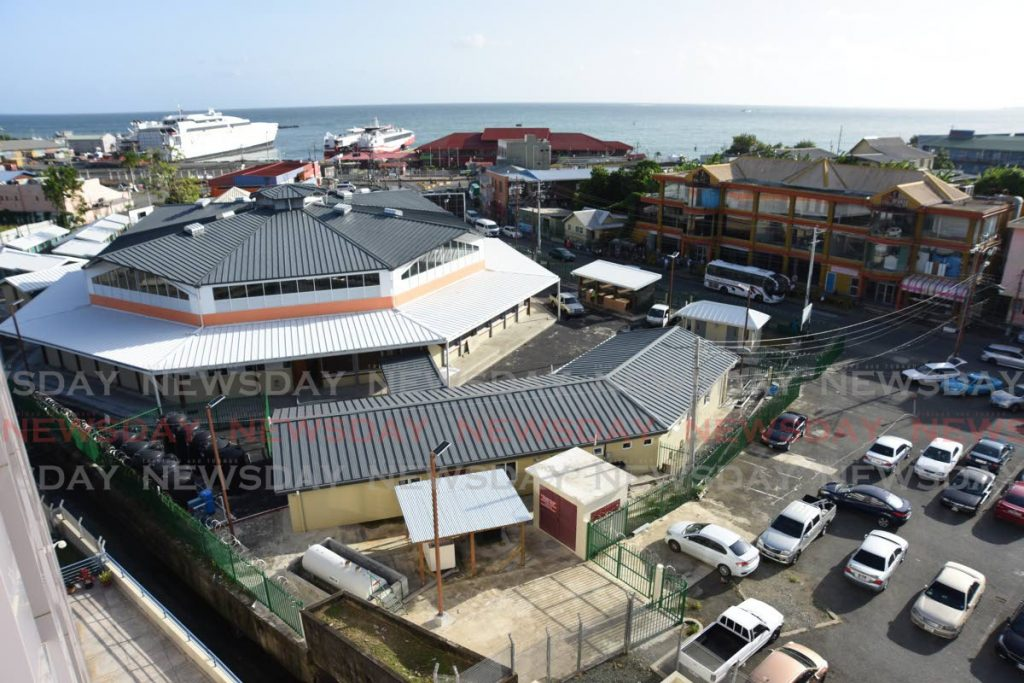 An aerial view of the refurbished Scarborough market on Wilson Road in Tobago. PHOTO BY AYANNA KINSALE -