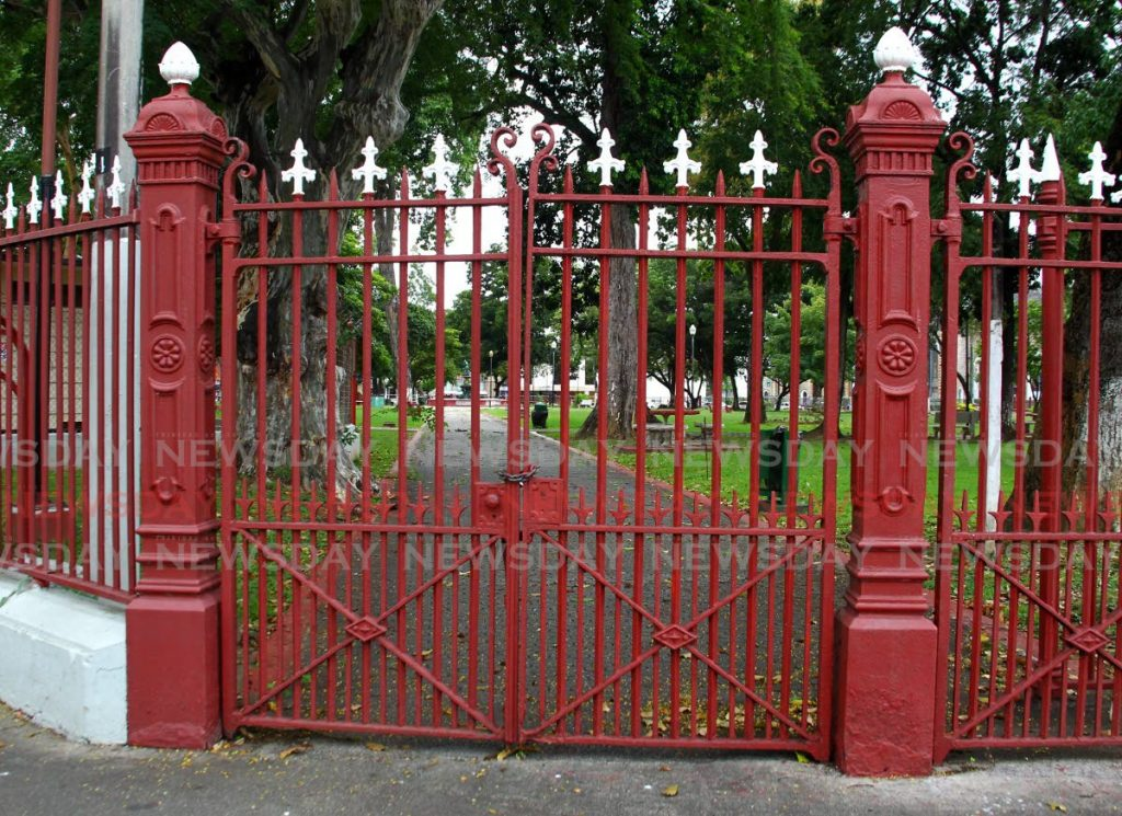 Woodford Square remains locked in keeping with public health regulations. - ROGER JACOB