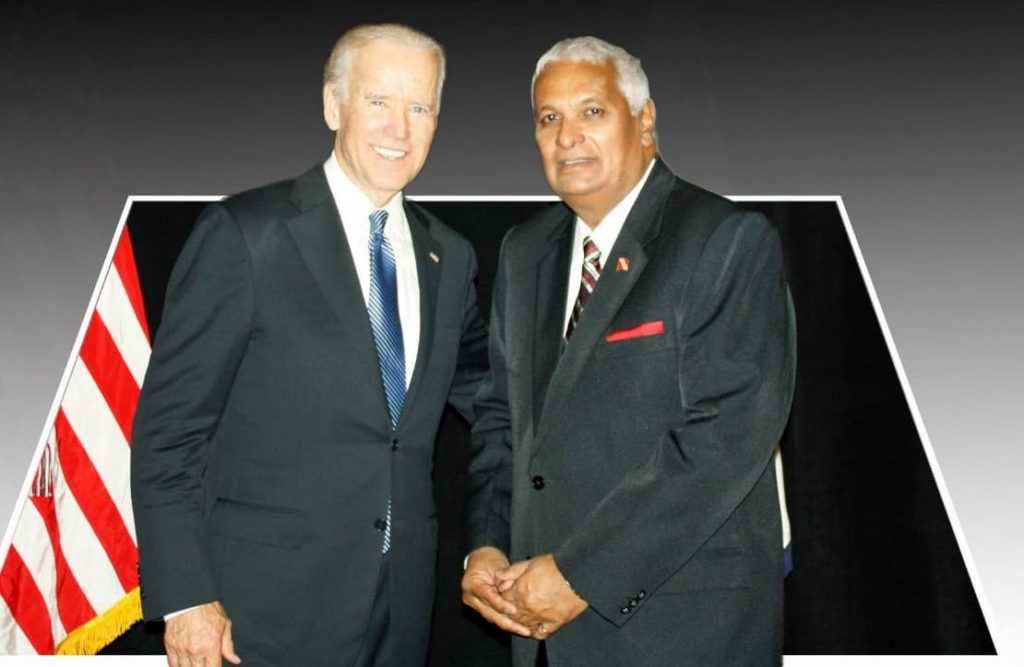 Former foreign affairs minister Winston Dookeran and then vice-president, now president-elect Joe Biden as they met during Biden's state visit to TT  in 2013. PHOTO COURTESY WINSTON DOOKERAN -