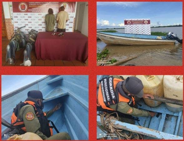A photo montage issued by the Guardia Nacional Bolivariana authorities in Venezuela showing two men, said to be Trinis, detained in Venezuela with guns and ammunition. - GNB
