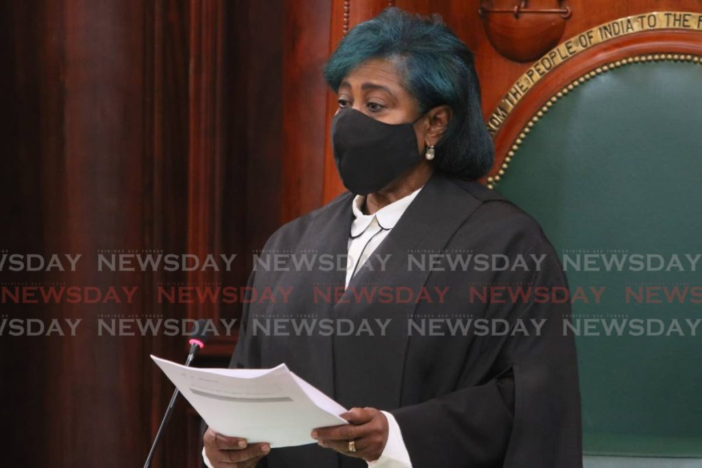 ANNOUNCEMENTS: House Speaker Bridgid Annisette-George makes announcements during the sitting on Monday. PHOTO COURTESY OFFICE OF THE PARLIAMENT - Parliament