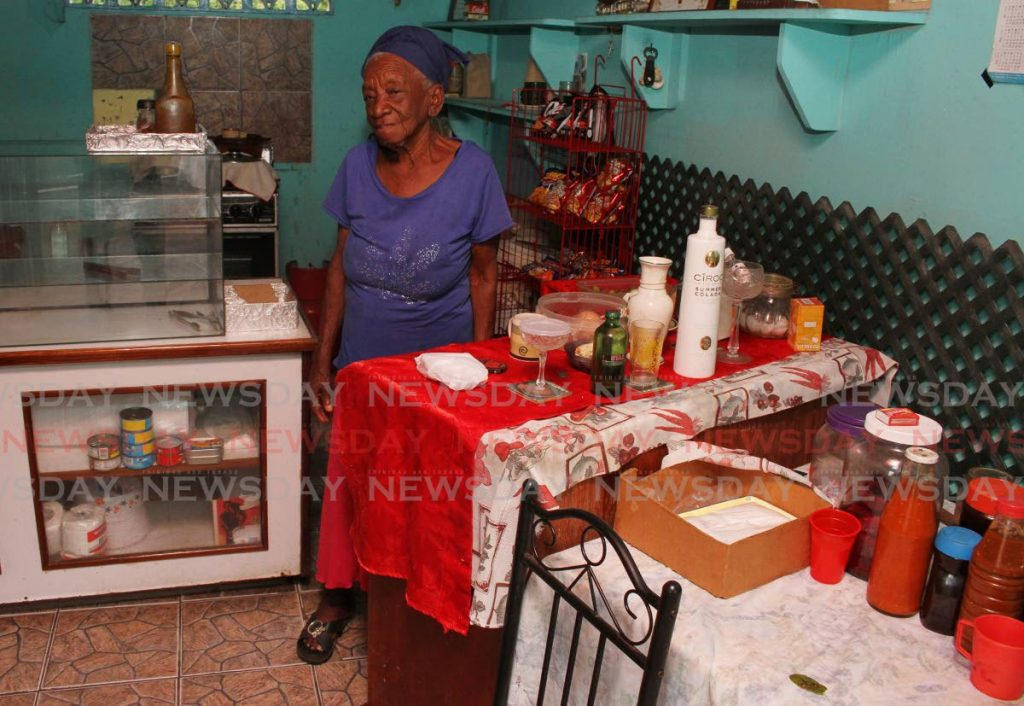 Elsie London,  86, in the kitchen of her food court in Toco. - Angelo Marcelle