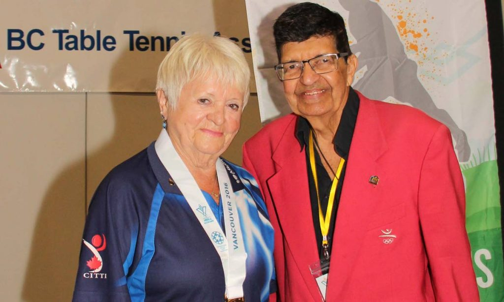 Table tennis masters player Marta Nykl, left, and Dr Chandra Madosingh in Vancouver at a 2016 tournament. PHOTO COURTESY Dr Chandra Madosingh -