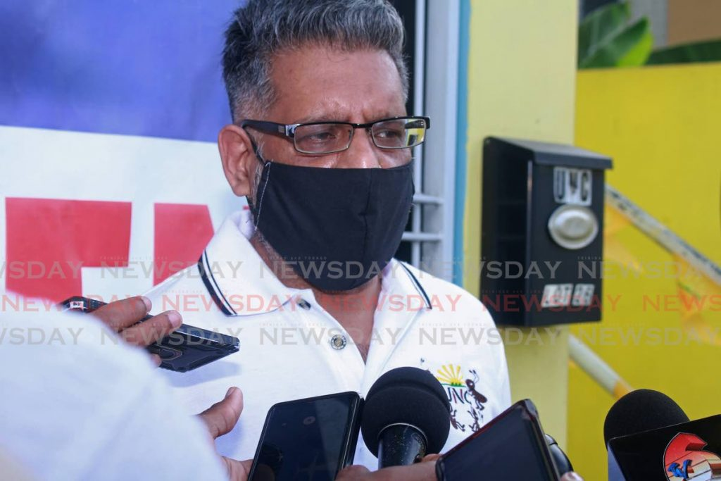 PULLED OUT: Former government minister Devant Maharaj explains to the media why he decided against contesting the leadership position in the UNC's upcoming internal election. - CHEQUANA WHEELER