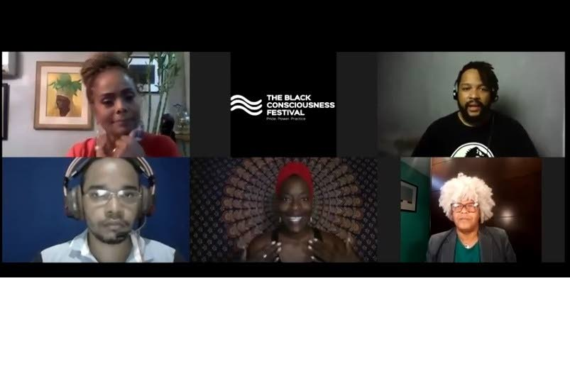 One of 20 Conversations for 2020 in the Black Consciousness Festival. From top left: Miss Universe 1977 Janelle Penny Commissiong; interpreter Roberto Kwengwe; Helder Dias of HDA Agency in Brazil; Sheryland Neal, dancer and filmmaker from Atlanta; and interpreter Carlos Henrique Mendes, at the November 8 event. The festival is online and continues until November 30. -