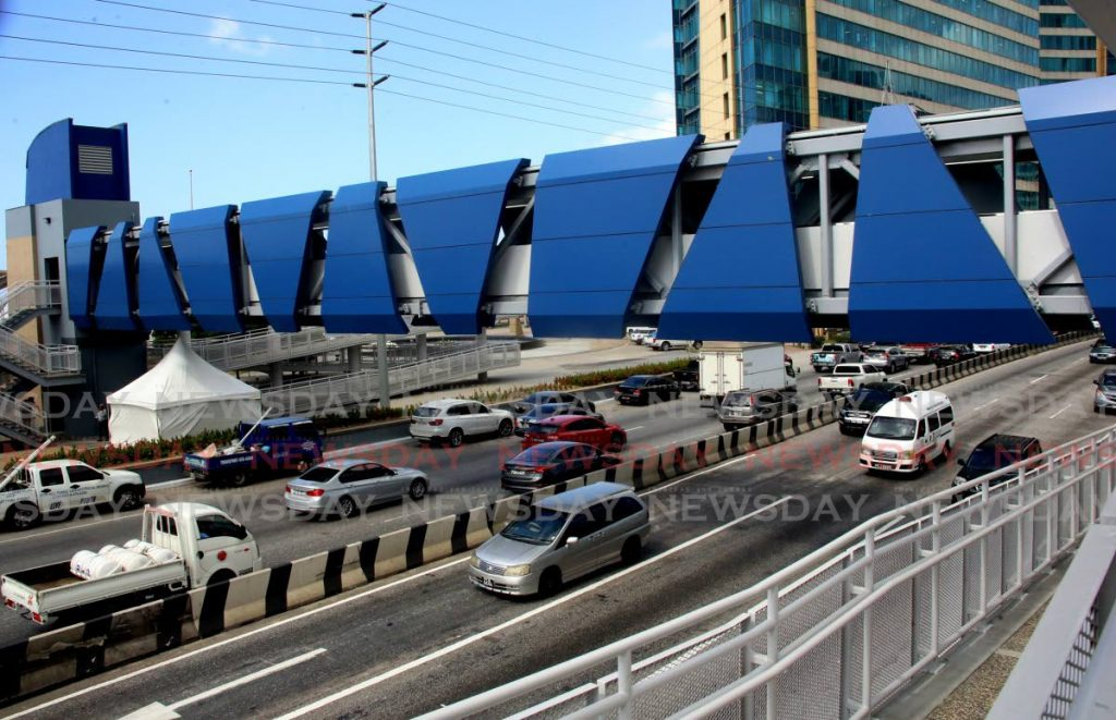 The newly constructed and opened water taxi pedestrian overpass over Wrightson Road in Port of Spain. Works and Transport Minister Rohan Sinanan believes the new overpass ties in with the proposed rivitalisation of Port of Spain project. - SUREASH CHOLAI