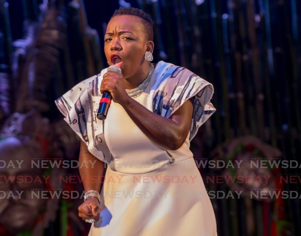 DOUBLE WINNER: Nicole Thomas placed first in the Tobago Calypso Monarch and Windward Calypso Monarch competitions.  -