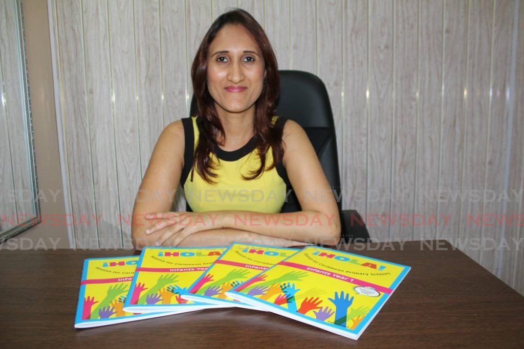 Darcelle Doodnath, author of ¡Hola!: Spanish for Caribbean Primary Schools: Year 1. PHOTOS BY CARLA BRIDGLAL -