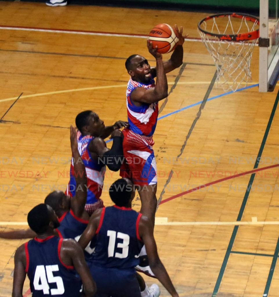 FILE PHOTO: Caledonia Clippers and Defence Force battle in a North Zone Basketball League game last year.  -