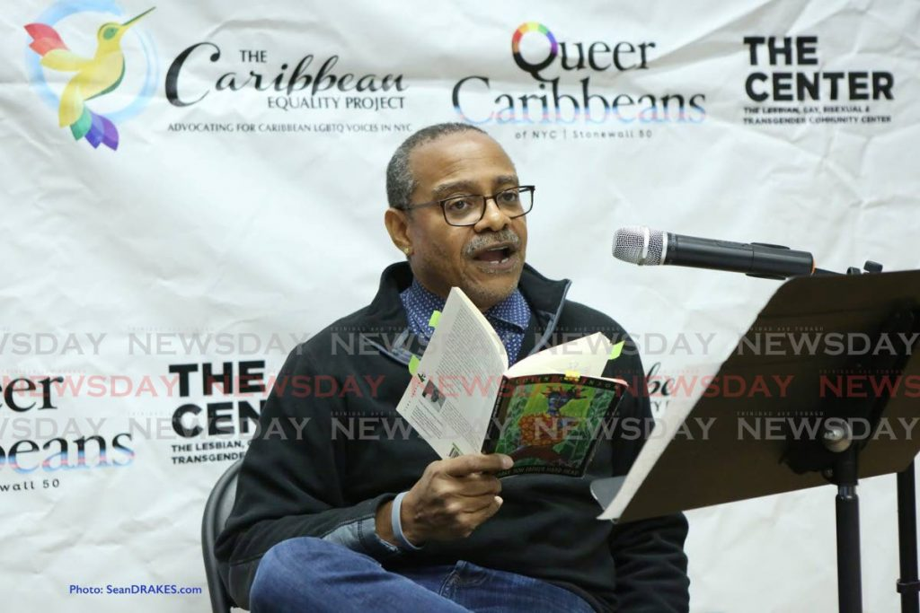 Colin Robinson reads from his book You Have Your Father Hard Head in New York in October 2019. File photo/Sean Drakes. -
