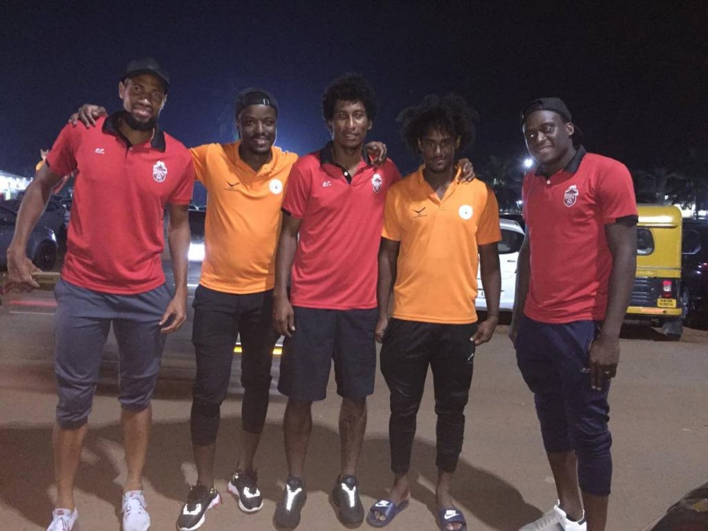 TT footballers (from left) Radanfah Abu Bakr, Marvin Phillip, Willis Plaza, Taryk Sampson and Robert Primus during their time in India earlier this year.  -