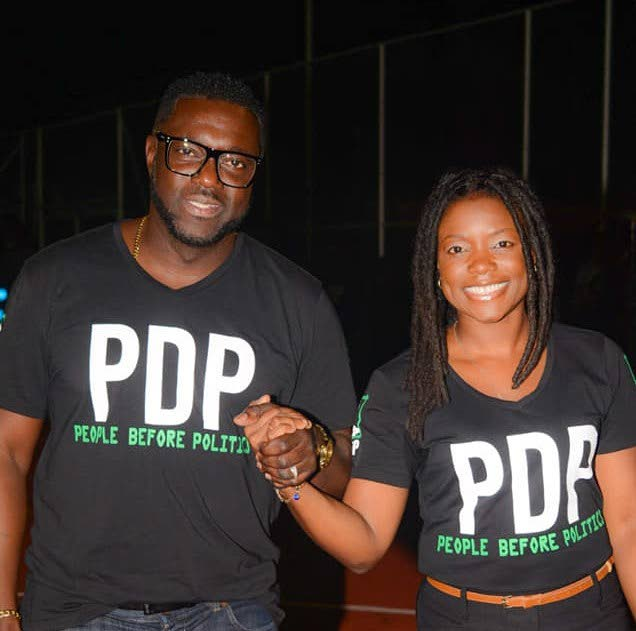 PDP leader Watson Duke, left, and Tashia Grace Burris, who unsuccessfully fought  the Tobago East and West seats in the August 10 general election. PHOTO COURTESY PDP -