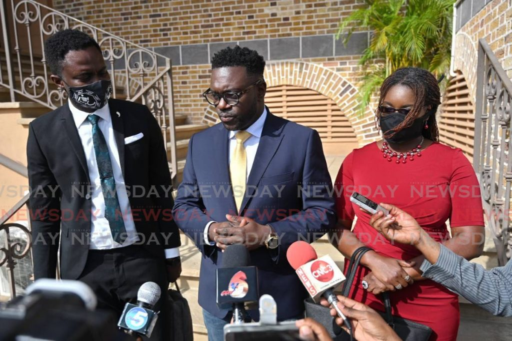 FILE PHOTO: Progressive Democratic Patriots (PDP) political leader Watson Duke, centre, with his deputies Dr Faith BYisrael (right) and Farley Augustine outside the Assembly Legislature, Scarborough, earlier this year. -