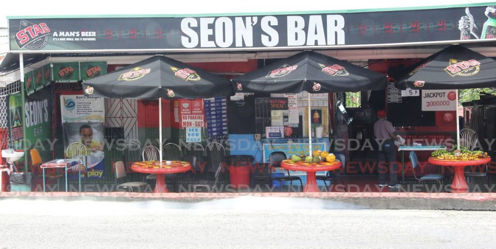 In this July 18 file photo, fruits are on sale at Seon's Bar on Royal Road, San Fernando. The Prime Minister on Saturday announced $10 million in relief for bar workers. PHOTO BY LINCOLN HOLDER -