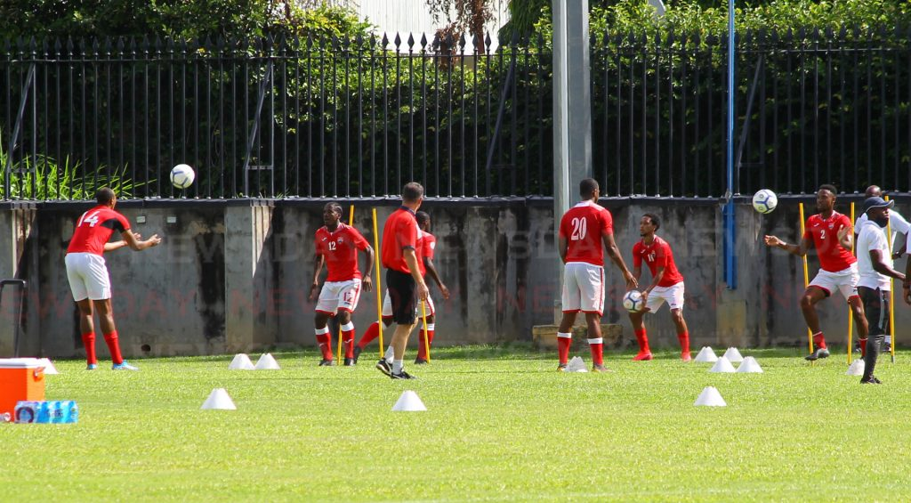 TT footballers in a training session recently at the St James Police Barracks. PHOTO BY ROGER JACOB