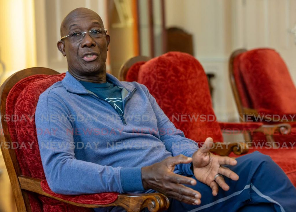 Prime Minister Keith C Rowley speaks to Newsday at the Prime Minister's residence, Diplomatic Centre, St Ann's   - Jeff Mayers