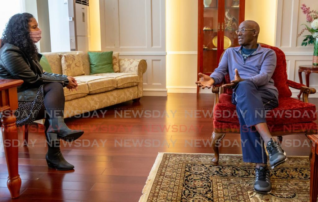 In this file photo, Prime Minister Keith C. Rowley speaks to Newsday's journalist Rachel Espinet - Photo by Jeff Mayers