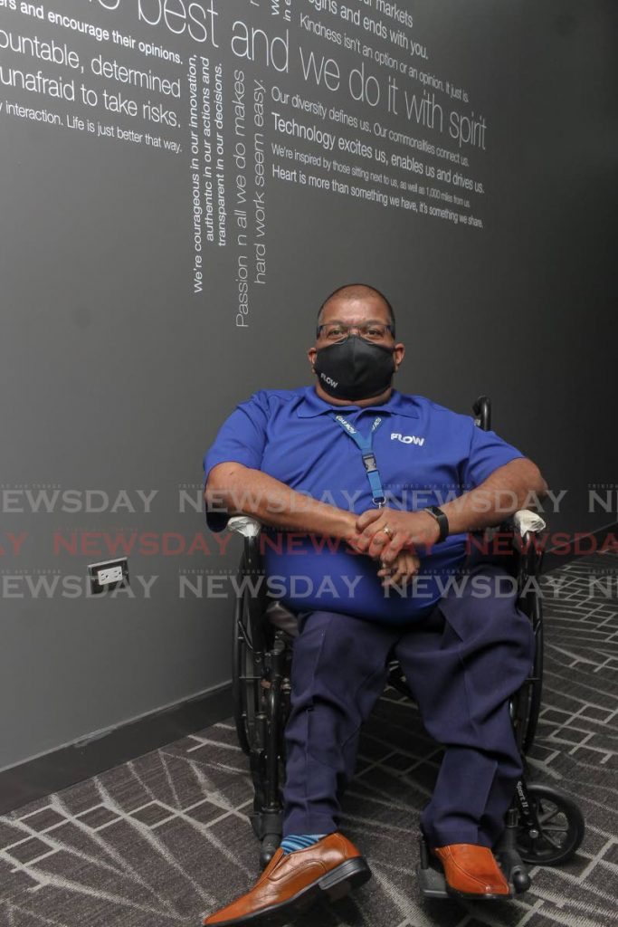 Randolph Ramoutar has lived without the use of his legs for almost his entire life. The field audit manager at Flow hopes more opportunities will be given to disabled people so that they can contribute to society. - Angelo Marcelle