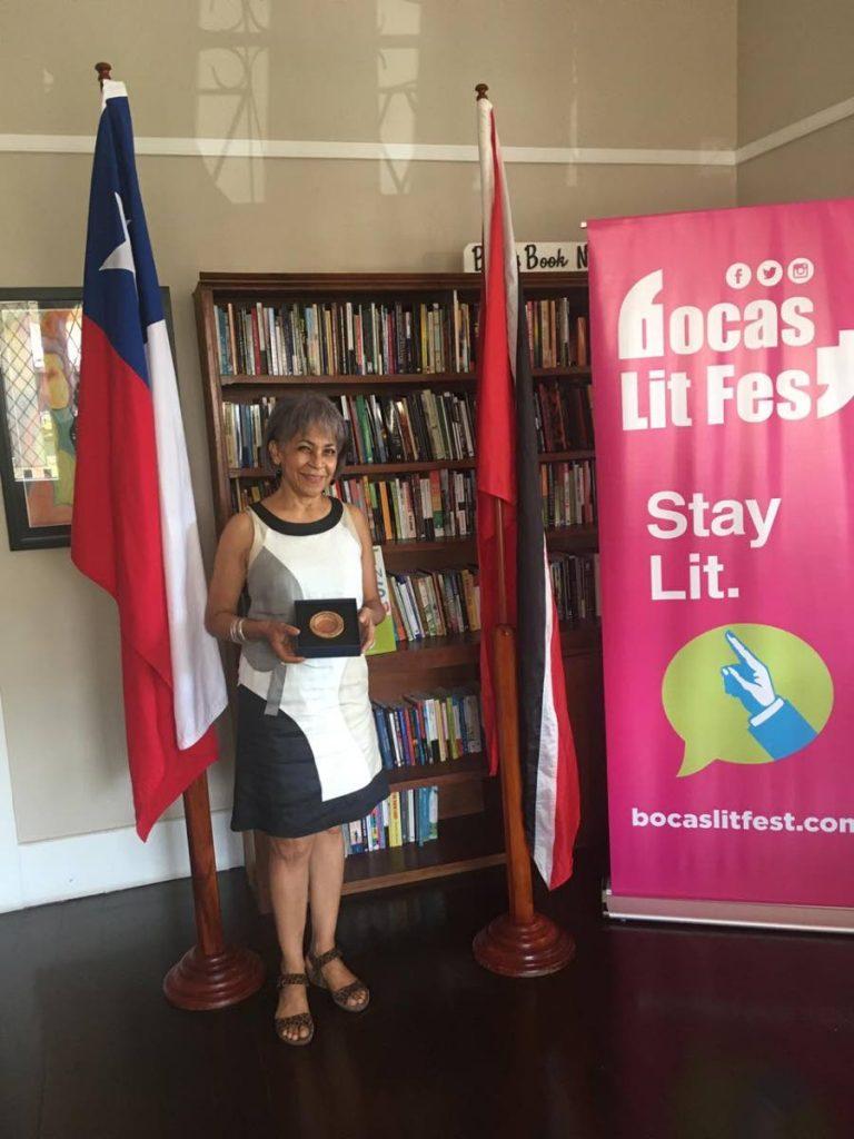 Marina Salandy-Brown with  the Strait of Magellan Award. -