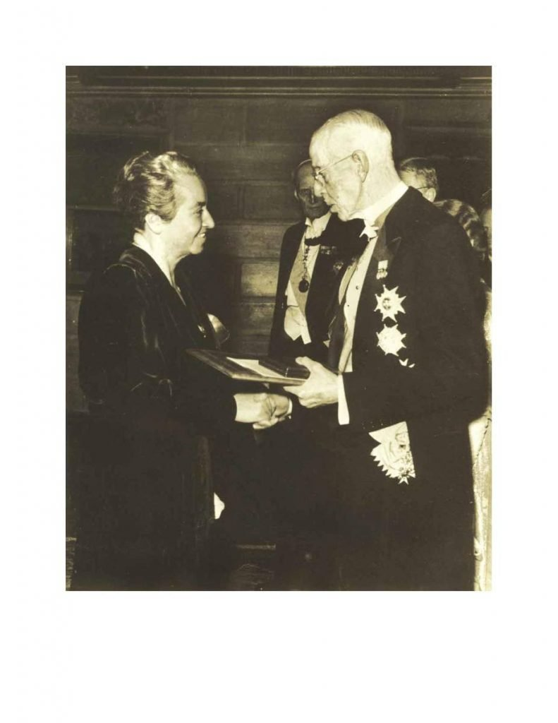Legendary poet Gabriela Mistral receiving the Nobel Prize for Literature in 1945. She is the first and last Latin American woman to receive the award and also the first person from the South American continent to do so. -