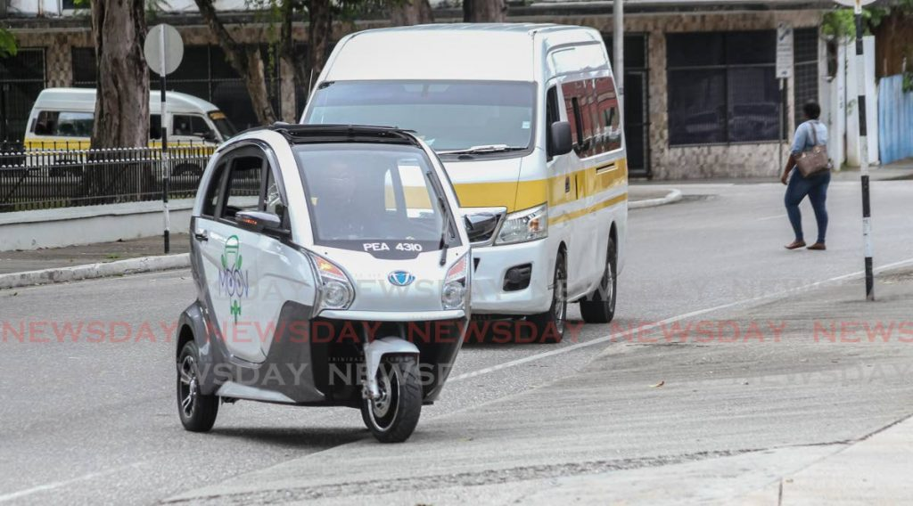 Delivery company MOOV launched its electric tricycle named Calypso on Friday at the courtyard NAPA, Port of Spain with CEO Nyssa Pierre.  - Jeff Mayers