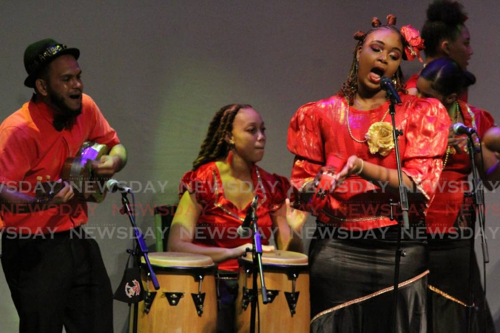 Members of the parang band Los Amigos Cantadores, performing at Queen's Hall, St Anns.  - Photo by Angelo Marcelle